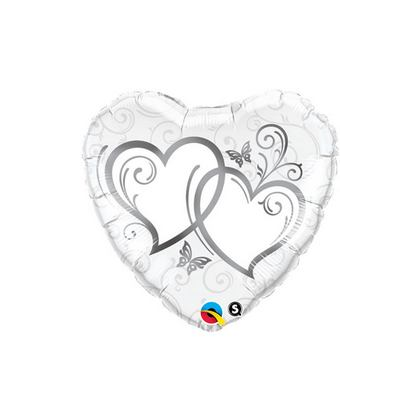 Balón Entwined Hearts Silver Q
