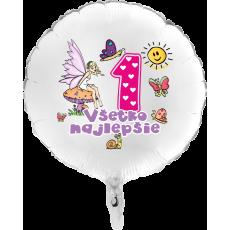 Balón Všetko najlepšie 1 víla biely