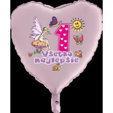 Balón Všetko najlepšie 1 víla ružový