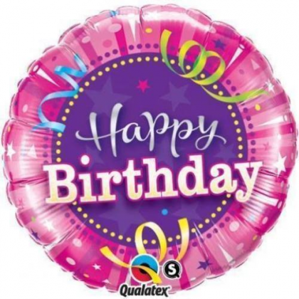 Balón BDay Bright Stripes Hot Pink Q