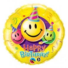 Balón BDay Smiley Faces Q