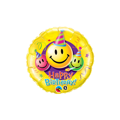 Balón BDay Smiley Faces Q