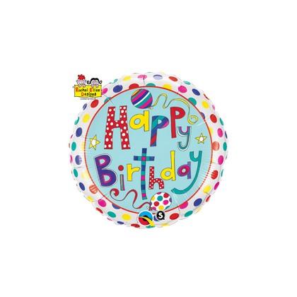 Balón BDay Polka Dots & Stripes Q