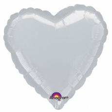Balón srdce Strieborné