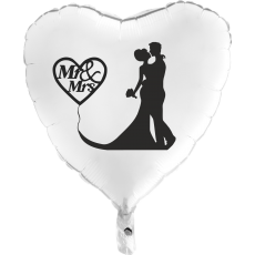 Balón Svadobný Mr & Mrs biely