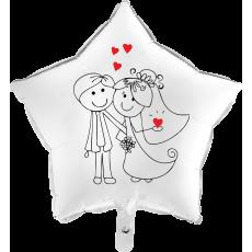Balón Svadobný On a Ona biely