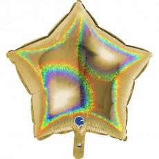 Balón Hviezda zlatá hologr.