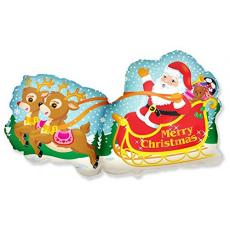 Balón Santa na saniach + soby