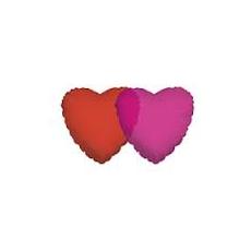 Balón Srdce 45 cm červené priehľadné