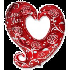 Balón Srdce deravé Ruža