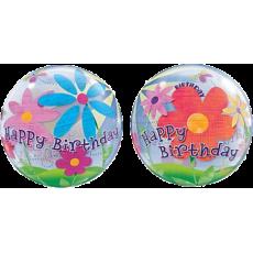 Balón Q Bubbles Funky Flowers BDay