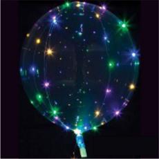 Priehľadný balón s bielym svetlom