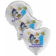 Balón Všetko najlepšie 1 pirát srdce strieborné