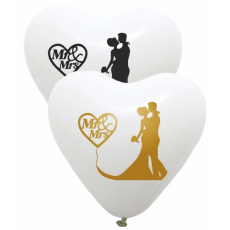 Balóny svadobné Mr & Ms srdce biele