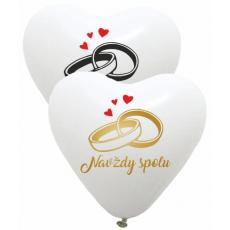 Balóny svadobné Navždy spolu srdce biele