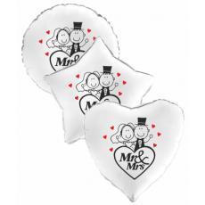 Balón Svadobný Mr & Mrs 1 biele srdce