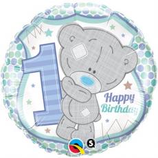 Balón číslo 1 narodeniny macko Tinny Tatty 1st chlapec