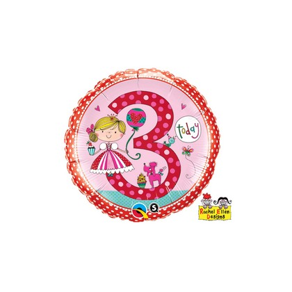 Balón číslo 3 narodeniny Princezná