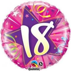 Balón fóliový čislo 18 ružový Shining Star Bright pink Q