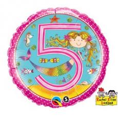 Balón číslo 5 narodeniny morská víla