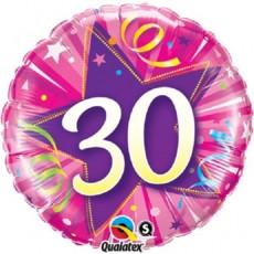 Balónik fóliový čislo 30 ružový Shining Star Bright pink Q