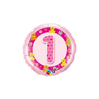 Balón číslo 1 Macko ružový