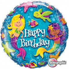 Balón Morské víly Happy Birthday / Bday Mermaids