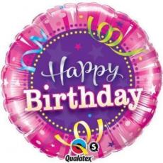 Balón Happy Birthday ružový / BDay Bright Stripes