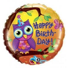 Balón Sova Happy Birthday / BDay Owl