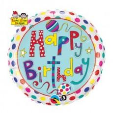 Balón Happy Birthday bodky / Polka Dots & Stripes