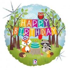 Balón Zvieratká Happy Birthday / Woodland HBday