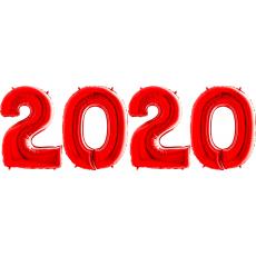 Novoročné číslo 2020 červené 66 cm