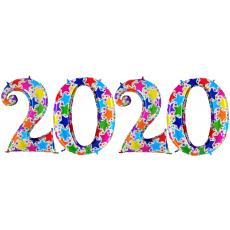 Novoročné číslo 2020 Hviezdičkové 100 cm