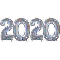 Novoročné číslo 2020 strieborné holg. 66 cm