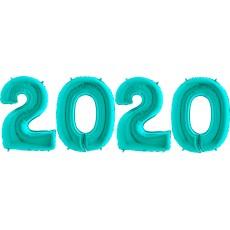 Novoročné číslo 2020 tyrkys 66 cm