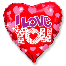 Balónik I Love You č. so srdiečkami
