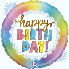 Balón Happy Birthday opal dúhové