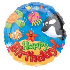 Balón Happy Birthday morský svet