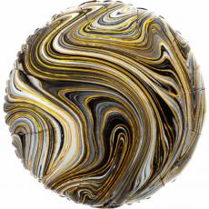Balón fóliový mramor čierno zlatý
