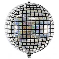 Balón Disco guľa strieborná holog.