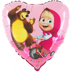 Balón Maša na bicykli srdce