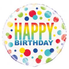 Balón Happy Birthday bodky