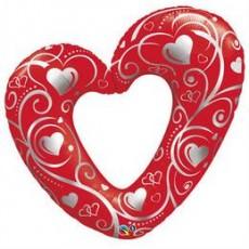Balón Srdiečko červené Q Hearts & Filigree Red