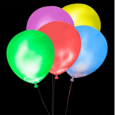 Svietiace balóny MIX s bielym LED svetlom 5 ks