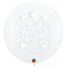 Balón Just Married priehľadný 90 cm