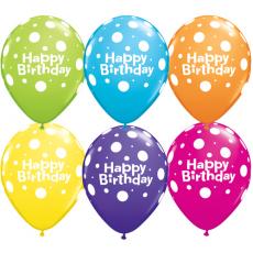 Balóny Happy Birthday bodky
