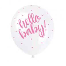 Priehľadné balóny Hello Baby Ružové 5 ks