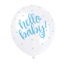 Priehľadné balóny Hello Baby Modré 5 ks