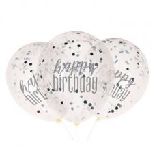 Priehľadné balóny s konfetami Happy Birthday Čierne 6 ks