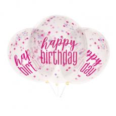 Priehľadné balóny s konfetami Happy Birthday Ružové 6 ks